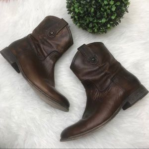 Frye Melissa Button Short Zip Ankle Bootie Boots